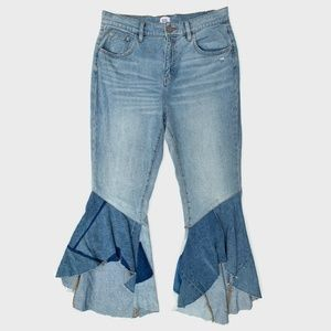 BDG Revamp Patchwork Ruffle Bell Flare Jeans 30